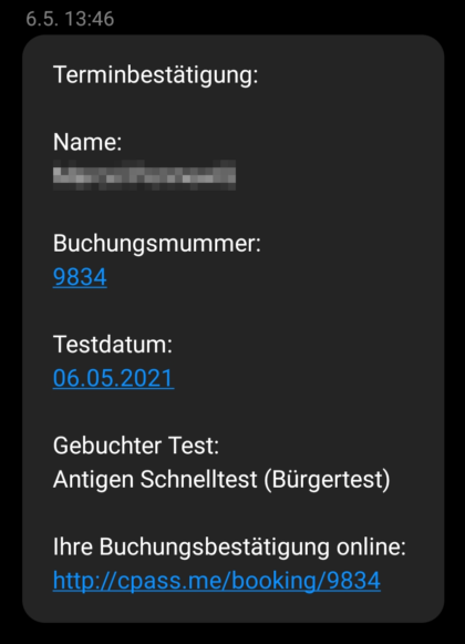 SMS-Bestätigung
