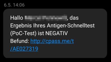 SMS Ergebnis